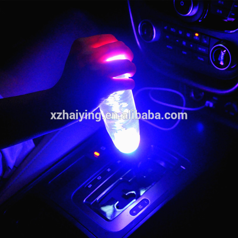 Auto Universal acrílico cristal bolha LED luz Gear Shift Knobs