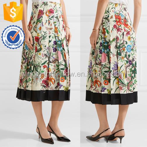 80b0f56081 Amarillo de impresión floral básica pezones cintura plisado cabido faldas  para damas fabricación al por mayor
