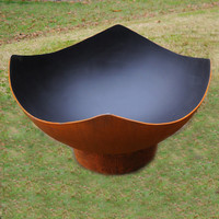 Large Rustic Cast Iron Wood Burning Fire Pit Bowl 34 Inch Diameter