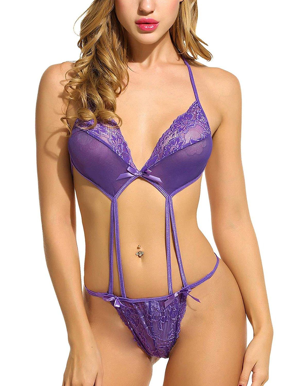 Aimado Women Lingerie One Piece Teddy Halter Bodysuit Lace Babydoll Nightwear S-XXL