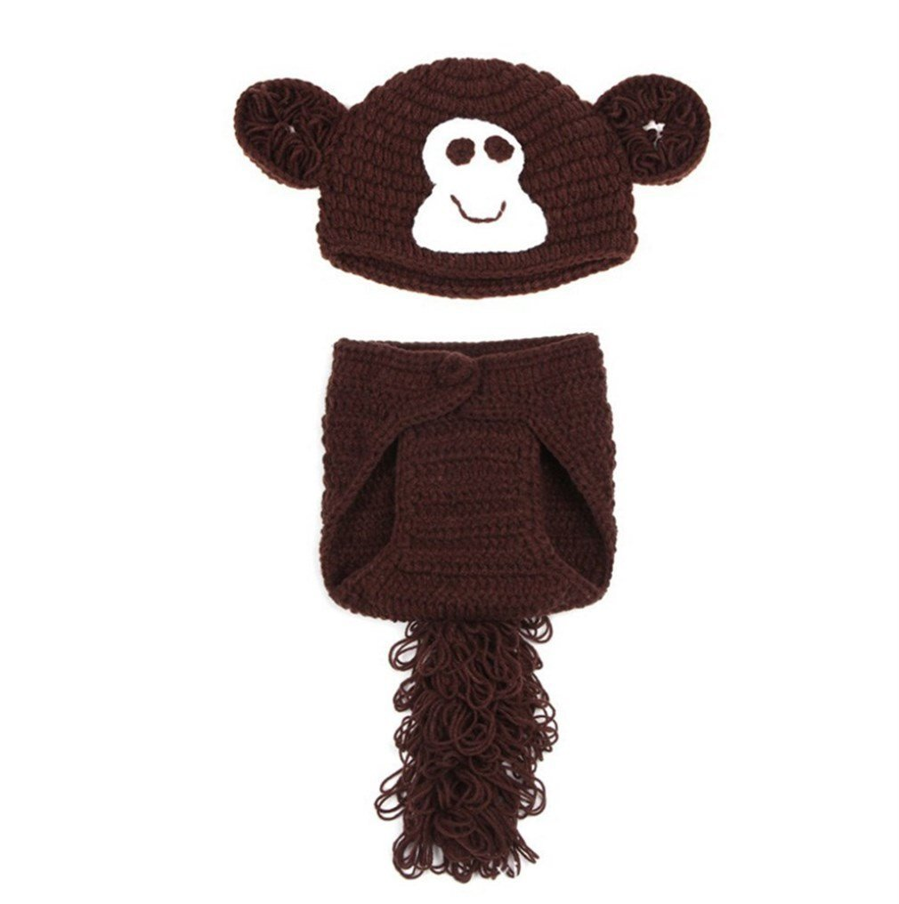 Cute Baby Infant Knit Crochet Photo Prop Outfits Cartoon Brown Monkey Style  Photography Beanie Hat Costume Clothes for Newborn Baby Girls Boys by ... 6cd3683539a6
