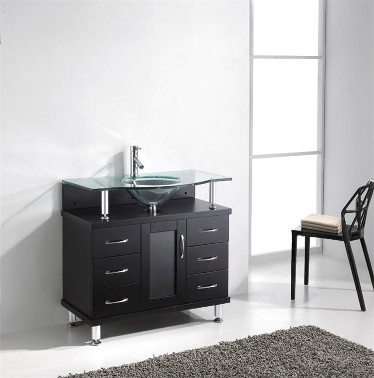 36 Inch Gl Top Solid Wood Bathroom