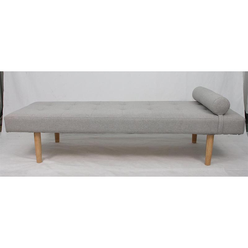 Flax Fabric Sofa Bed Tufted Bench Bed with Pillow for Living Room