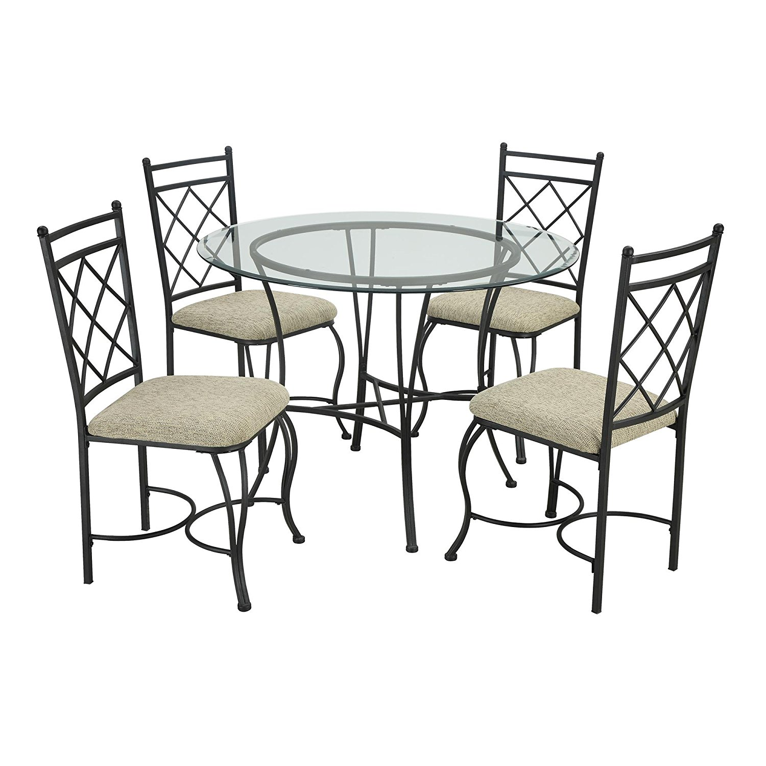 Get Quotations Comfortable And Stylish Traditional Styling Five Piece Glass Top Metal Dining Set Clear Beveled