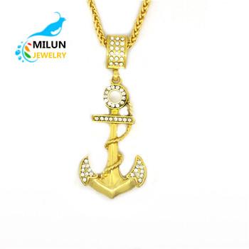 Wholesale hip hop crystal gold boat anchor pendant necklace for men wholesale hip hop crystal gold boat anchor pendant necklace for men aloadofball Images