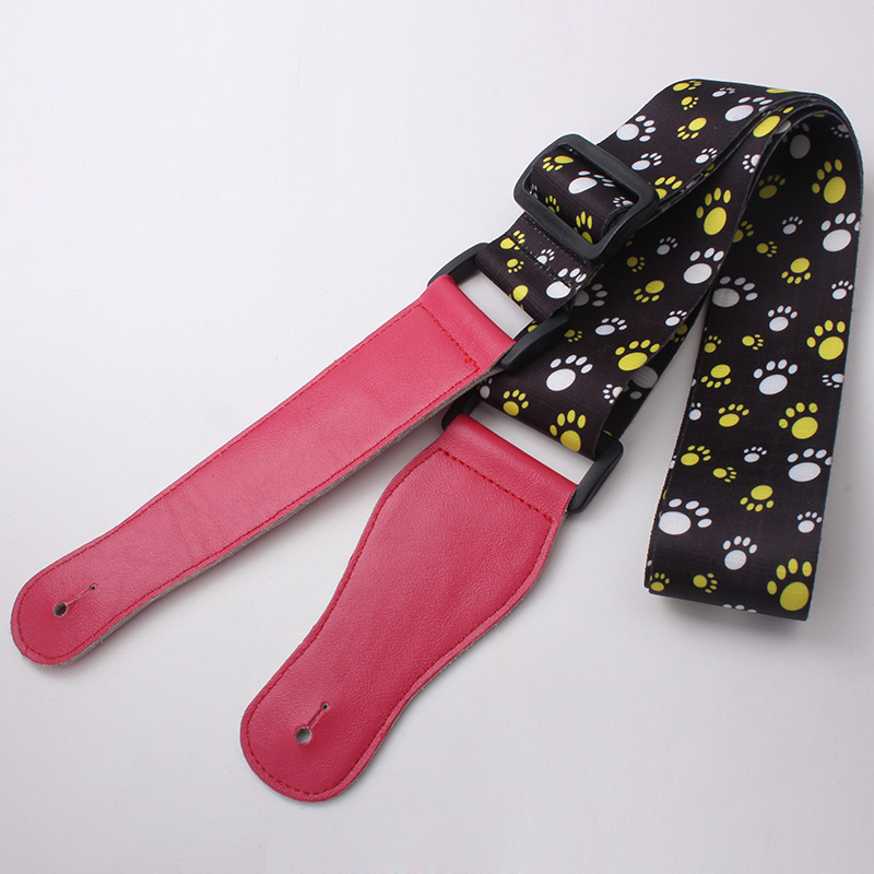 Best Quality Polyester Sublimation Printing Footprint Customized Guitar Straps Beatles with Pink Leather