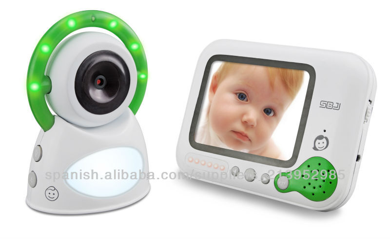 wireless infrared cmos camera night light digital video baby monitor with temperature sensor