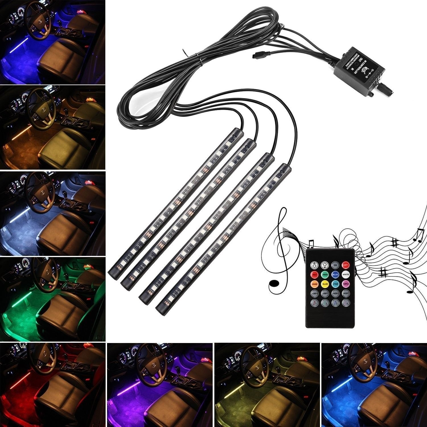 Car LED Strip Lights,4pcs 48 LED Multicolor Music Interior Strip Lights Under Dash Lighting Waterproof Kit With Sound Active Function And Wireless Remote Control,Car Charger Included,DC 12V