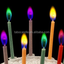 colorful flame no toxic birthday pillar candle