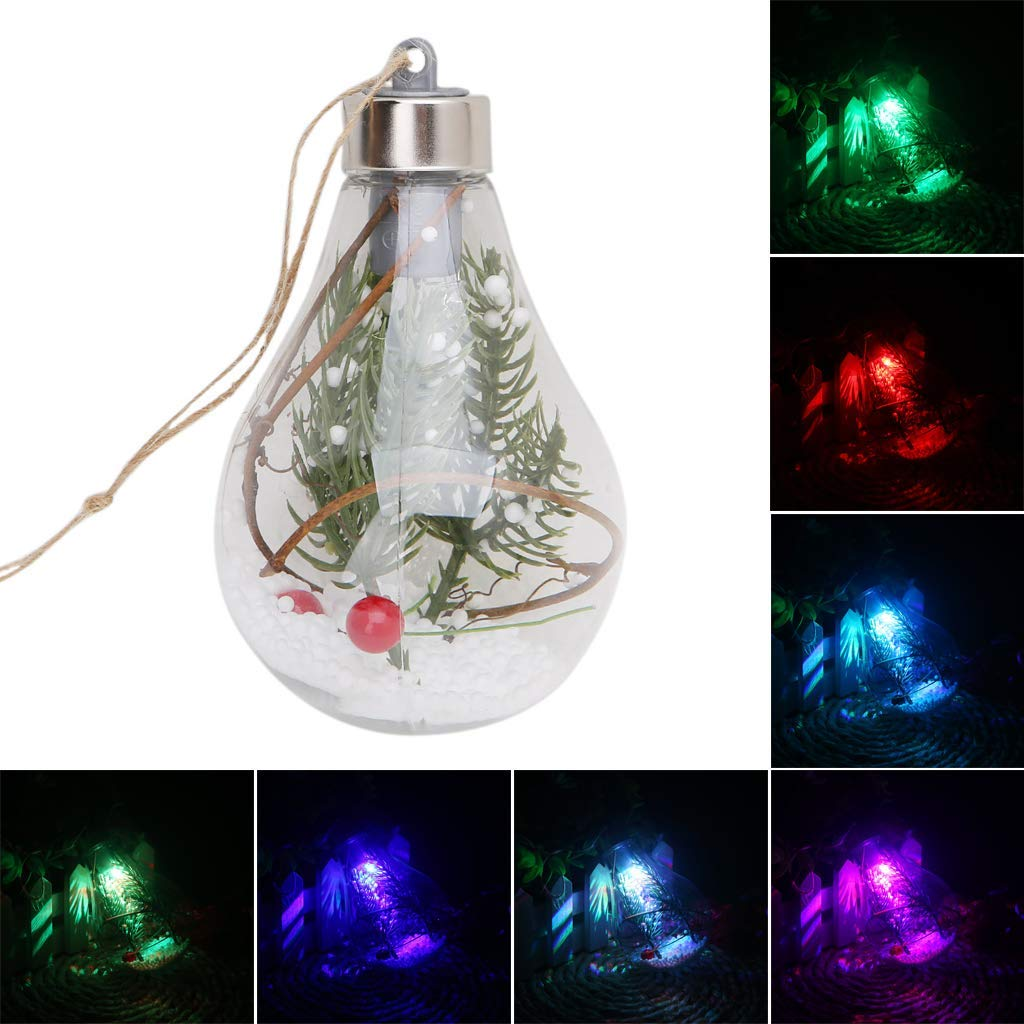 SQLang LED Bulb Clear Ball Light Lamps,Hanging Ornaments for Christmas Tree Decor for Party Outdoor,SDD-769 (1 pc led 7 Colors Light)