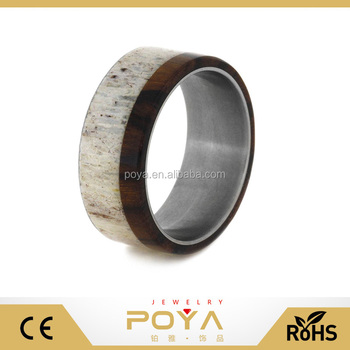 POYA Jewelry Mens Womens Fashion Titanium Deer Antler Wedding Band Paired With Ironwood, Titanium Wood Ring