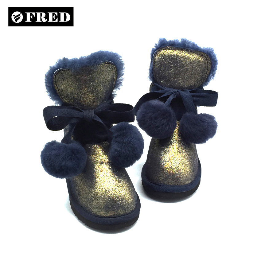 Winter kids sheepskin snow boots with sparkle cow suede upper
