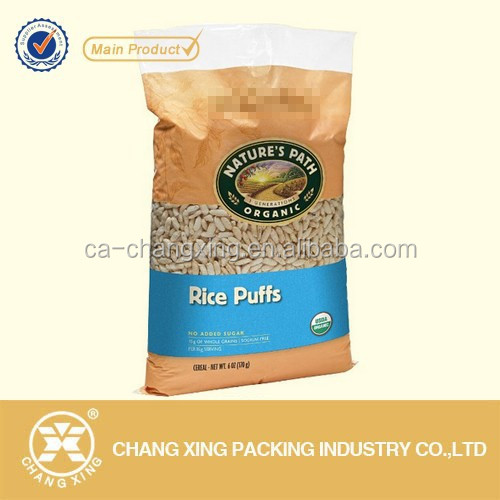 plastic and kraft paper laminated customer design rice packaging bag, printed plastic bags with own logo