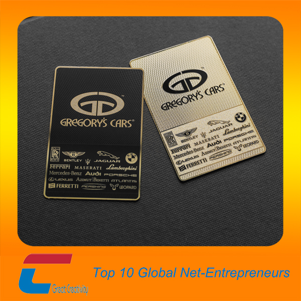 Gold plated luxury business card in stainless steel credit card size