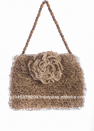 HANDKNITTING HANDMADE NIGHT BAG MADE FROM HEMP FIBER THAILAND