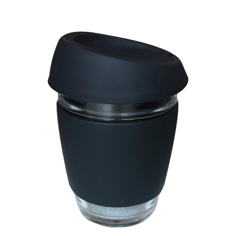 Amazon でホット販売カスタマイズロゴ再利用可能なガラスコーヒーカップシリコンスリーブホウケイ酸ガラスコーヒーマグ