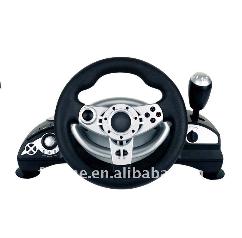 For PS3/PS2/XBOX360/PC-USB 4 in 1 Wired Game steering wheel with Vibration/ for ps3 racing wheel controller-- FT38D2