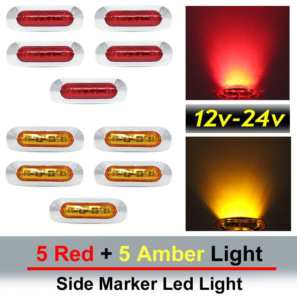 "10 pcs TMH 3.6"" submersible 4 LED Red & Amber Side Led Marker ( 5 + 5 ) 10-30v DC , Truck Trailer marker lights, Marker light amber, Rear side marker light, Boat Cab RV"