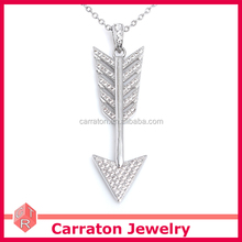 Rhodium Plated Silver Jewelry Wholesale Cupid Arrow Design Pendant