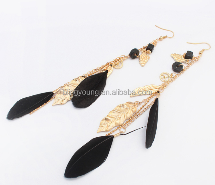 Hot selling earrings fashion leaf feather tassel earrings women jewelry