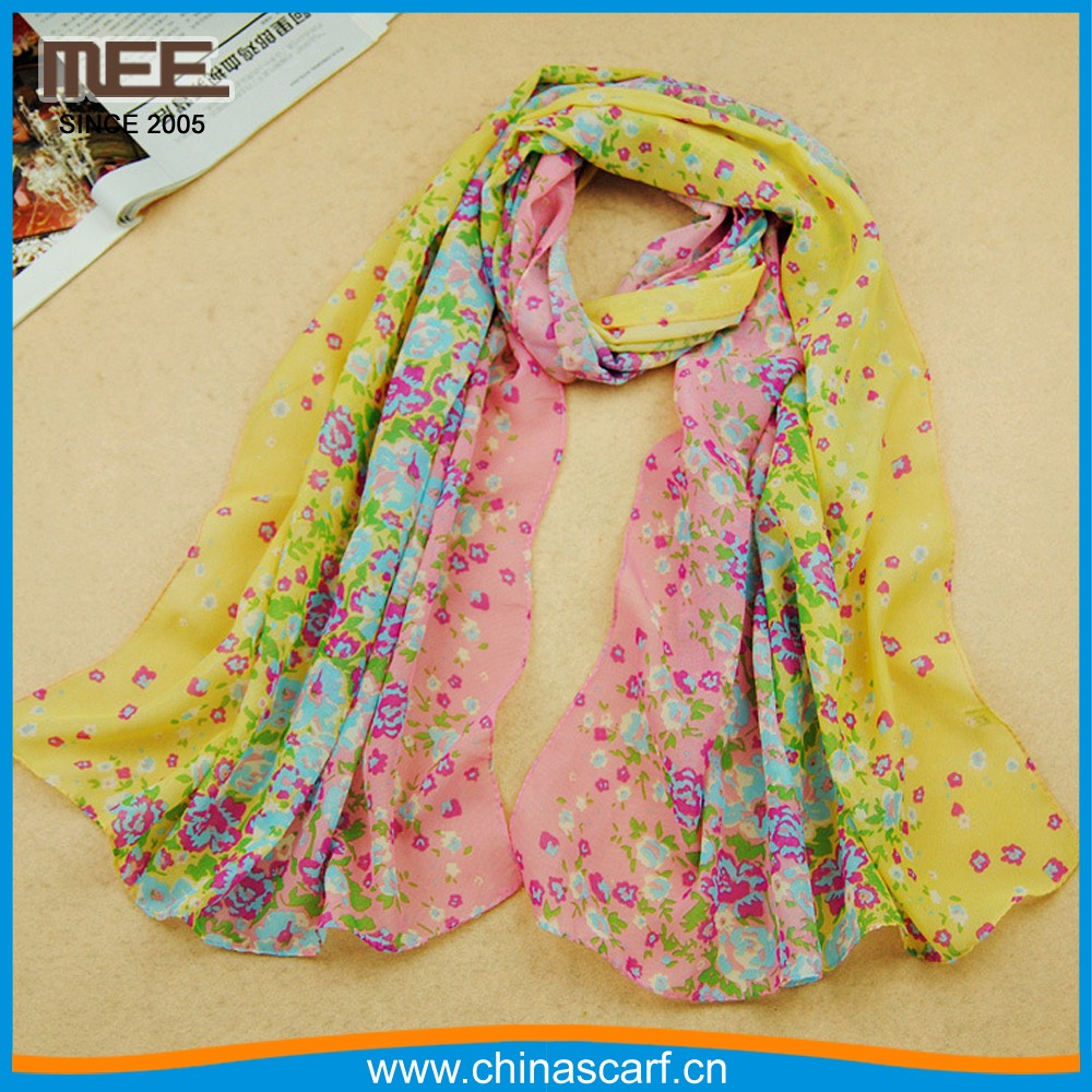 hot sell color shivering Flowers bloom print yellow and pink best scarf
