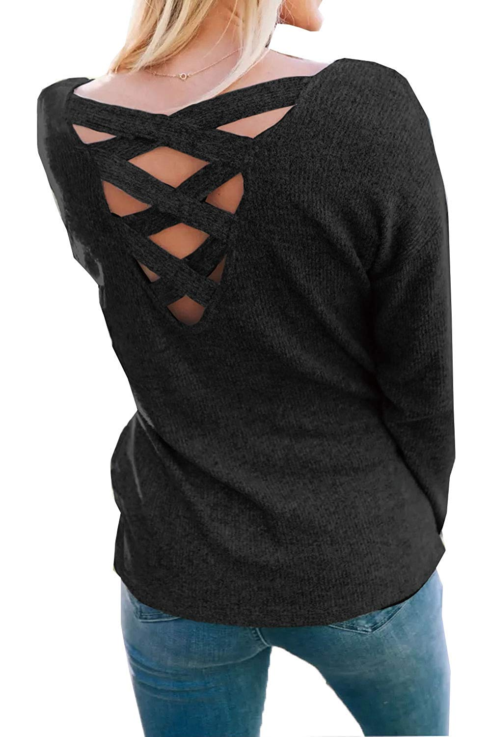 27fb9a001f0 Get Quotations · Womens Criss Cross Sweater Pullover Cut Out Tops Backless  Fall Tunic Blouse