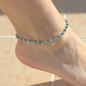 Classic Boho Jewelry Delicate Turquoise Bead Anklet Simple Beaded Chain Ankle Handmade Foot Chian Jewelry