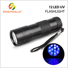 Wholesalers 395nm urine detector black light 12 led uv flashlight, uv torch light