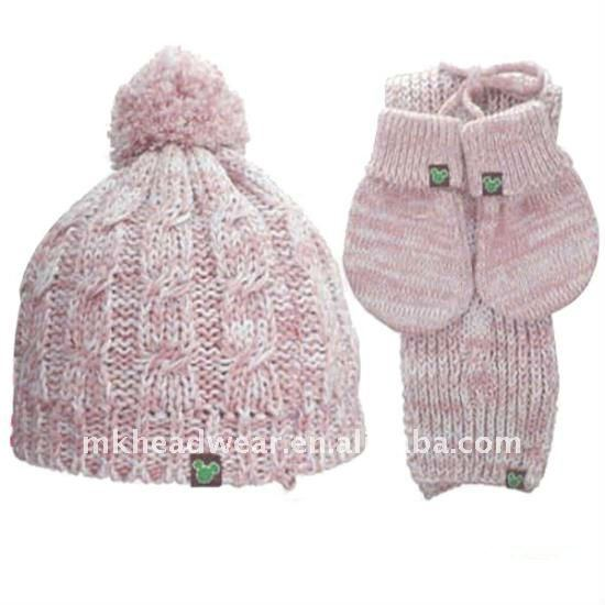 pink winter cotton knitted hat gloves and scarf set