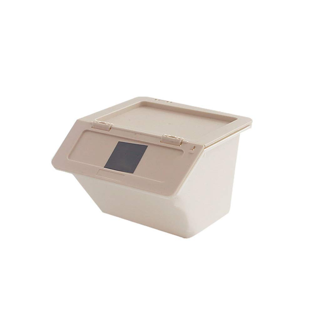 HOBOYER Desktop Storage Box, Plastic Stackable Storage Organizer Water-Proof Stationery Basket (Beige)