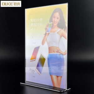 T Shape Plexiglass Table Menu Display Stand A4 Acrylic Sign Holder 8.5x11