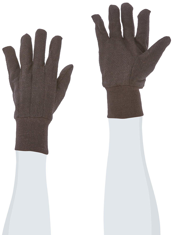 "West Chester 65090 Polyester/Cotton Medium Weight Jersey Glove, Work, Knit Wrist Cuff, 9-3/4"" Length, Large, Brown"