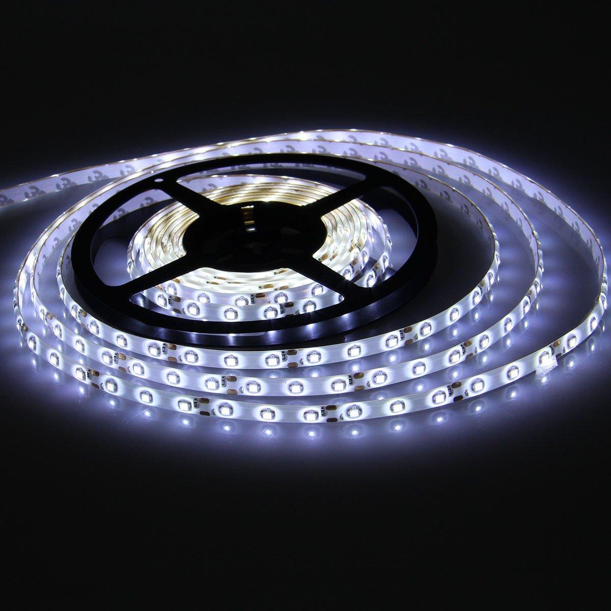 XKTTSUEERCRR Waterproof LED 3528 SMD 300LED 5M Flexible Light Strip 12V 2A 24W 60LED/M (Cool White)