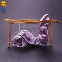 Sinicline 2016 summer brown fabric margin wrapped large clear zip lock plastic bags