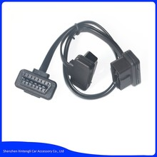 Flat+Thin As Noodle OBDII OBD-II OBD 2 OBD2 16 Pin ELM327 Male To dual Female Y Splitter Elbow Extension Cable