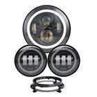 "Popular!!! A whole set motorcycle LED light 4.5"" led fog light 7"" bracket 7 inch round led headlight for Harley Davidson"