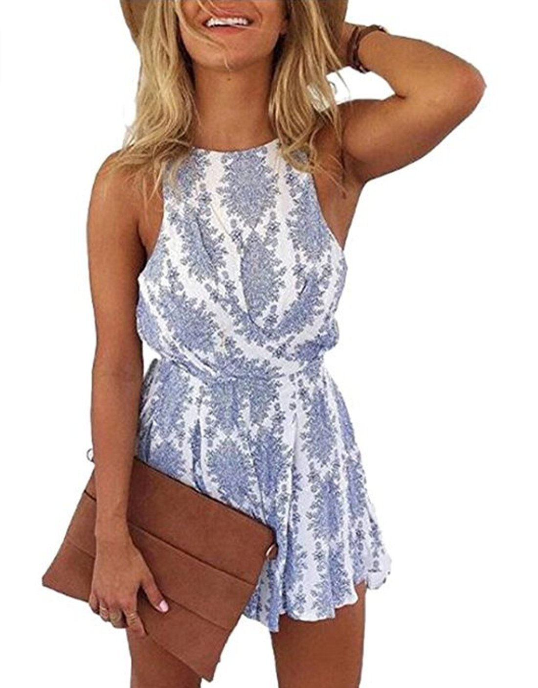 466f6a70e68e Get Quotations · Lanzom Women Sexy Strap Backless Summer Beach Party Romper  Jumpsuit