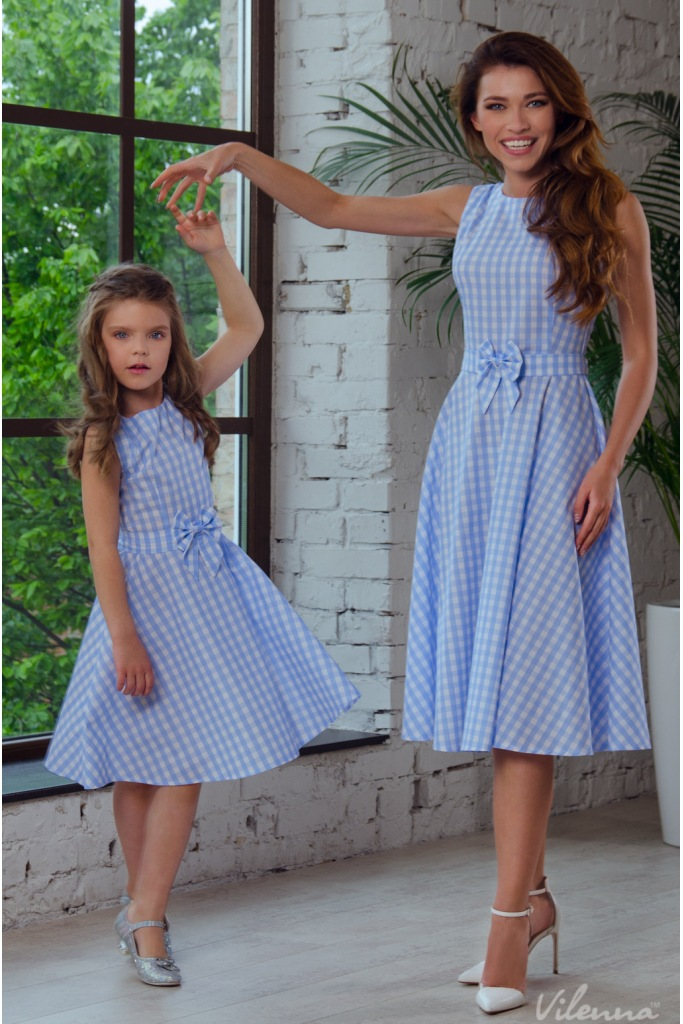 23e242fb4b 2018 Summer Mother Daughter Dresses Bowtie Plaid Boho Mommy And Me ...