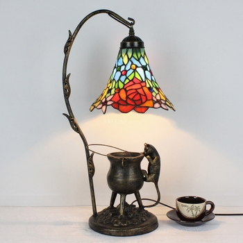 tiffany style bedside table lamp made by hand for home decoration living lamp