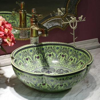Antique Style Bonne Qualité Fait Main Peinture En Relief Double Vasque Pour Salle De Bain Buy Lavabo En Céramiquelavabolavabo à Peinture