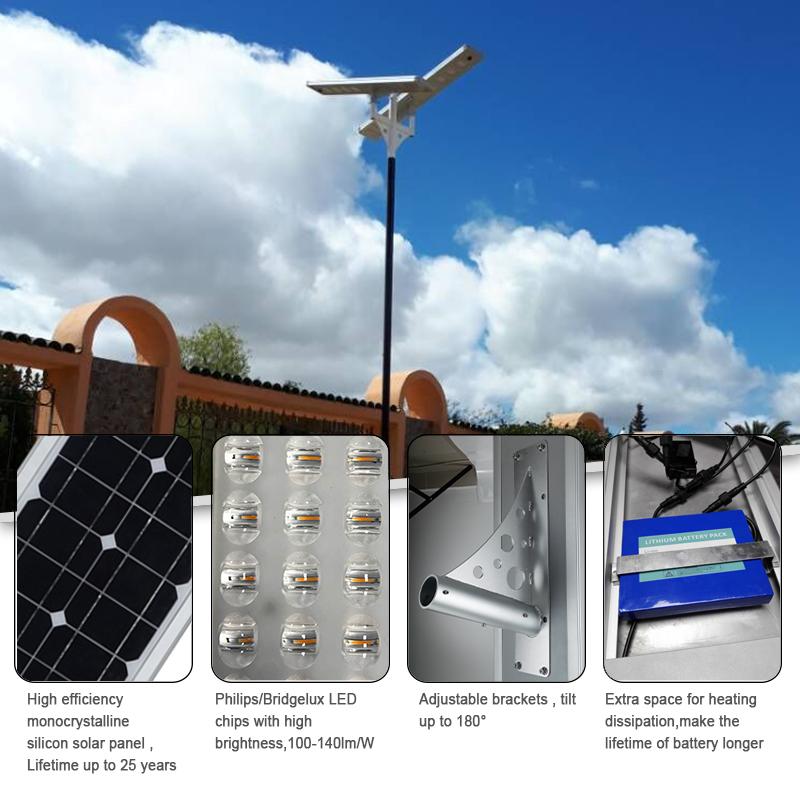 80 วัตต์ 2018 ใหม่ล่าสุดแบบบูรณาการทั้งหมดในที่เดียวนำไฟถนน led พลังงานแสงอาทิตย์ bioness panouri solare ชุดติดตั้งเพิ่มเติมโปรเจคเตอร์