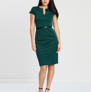 Lady's Deep Green Hue Notched Neck Bust Darts Belted Pencil Dress