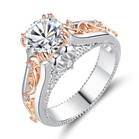 Fashion Geometric Big Crystal Silver Rose Gold Rings Leaf Wedding Cubic Zircon Ring For Women Jewelry HS-WL-R443