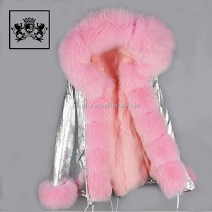 Fashionable pink raccoon fur trim faux fur lining womens parkas with fur