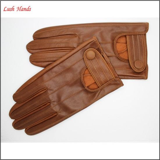 2017 men's new style brown driving leather gloves with high quality