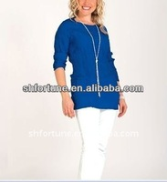 2013 fashion silk classical stripe short sleeve blouse for women