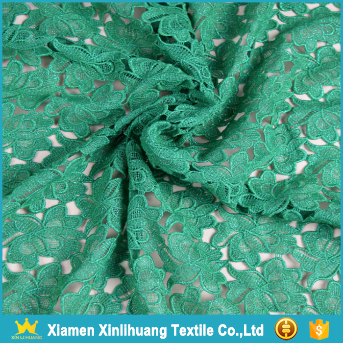 Best Selling Water Soluble 100 Polyester Emerald Green Lace Fabric for Dress