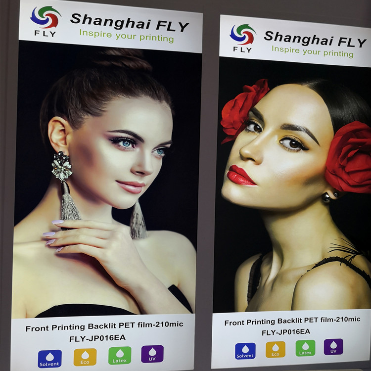FLY China wholesale 125um Reverse Printing Transparent Backlit PET Film for light box advertising