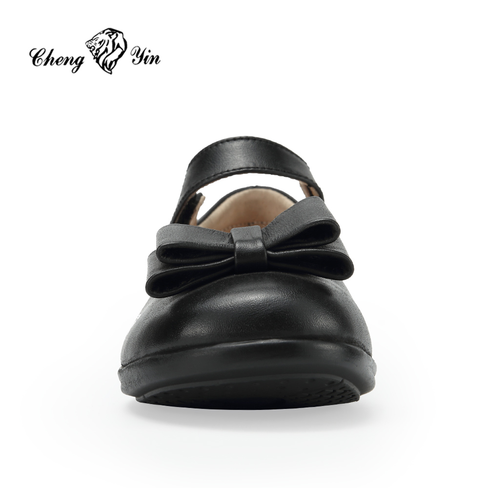 New Latest manufacture black casual student pu upper flat shoes for children