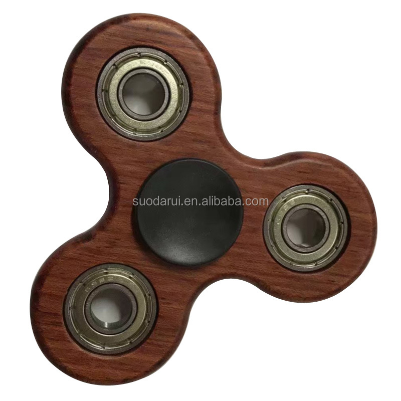 2017 Trending Products Si3N4 608 ceramic bearing fidget spinner wood or Bamboo Tri-Spinner Desk Focus Toy